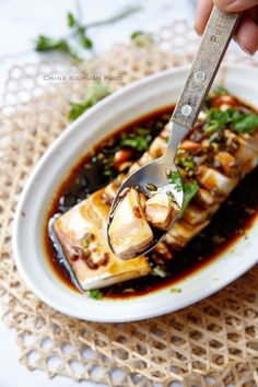 steamed tofu with soy sauce dressing Asian Tofu Recipes, Silken Tofu Recipes, Vegetarian Recipes, Cooking Recipes, Japanese Tofu Recipes, Cooking Tips, Steam Recipes, Steam Food Recipe, Food Porn