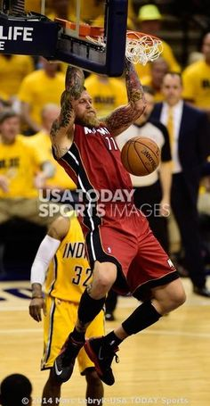 5/18/14: Indianapolis, IN, USA;Miami Heat forward Chris Andersen (11) dunks the ball during the second half of game one of the Eastern Conference Finals of the 2014 NBA Playoffs at Bankers Life Fieldhouse. Indiana Pacers beat Miami Heat 107 to 96.