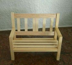 Doll house bench made with popsicle sticks