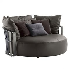 Buy online Scarlett By poltrona frau, curved sofa design Jean-Marie Massaud, the collection - sofa and armchairs Collection Round Sofa Chair, Gebogenes Sofa, Sofas, Sofa Furniture, Armchairs, Tufted Couch, Settees, Metal Furniture, Sofa Design