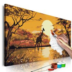 Pictura pe numere - Giraffe at Sunset | 80x40 cm #Africa #sun #trees #giraffes #animals #sunset #paintingbynumbers #tablouri #tablouripepanza #tablourideabstractizare #pictures #canvasprint #canvasprints #glix #decor #acasa #wallart #wallartdecor #wallarts #wallartprint #wallartofphotography #wallartdesign #homedecor #homedecoration #Home #homesweethome #homedesign #homestyling Giraffe, Street Art, Sunset, Diy, Painting, Pulley, Acrylic Paintings, Canvases, Ghosts