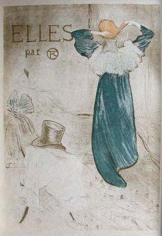 Title: Elles Par Toulouse Lautrec Cover / Artist: Henri Toulouse-Lautrec /  Origin: France - 1990 /  19 x 23 in (48 x 58 cm)  / 1 out of 11 lithographs from Toulouse-Lautrec's Elles Series reissued by the Bibliothèque nationale de France in 1990.