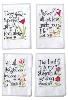 hand towels Set of four embroidered hand towels, each x with colorful heart design and contemporary typography Bible good and perfect gift is from above. James of all le Embroidery Patterns Free, Vintage Embroidery, Machine Embroidery, Embroidery Designs, Ribbon Embroidery, Dish Towel Embroidery, Simple Embroidery, Embroidery Fonts, Hand Towels