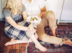 Navy and beige plaid skirt paired with grey t-shirt, perfect to wear for engagement session. - Melissa Jill Photography