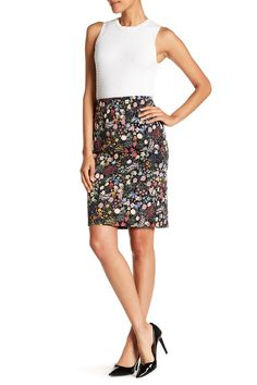 84a89a9bd6c Floral Back Zip Skirt Floral Pencil Skirt