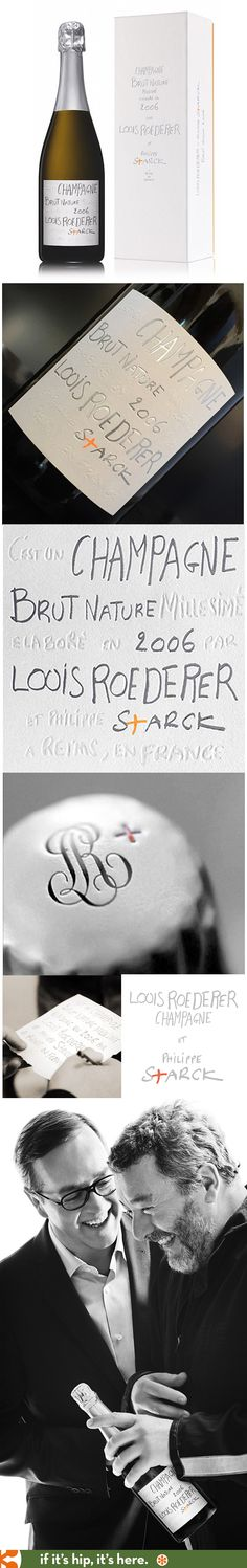 Philippe Starck and Roederer. A special box and embossed and inked label design for Champagne Brut Nature 2006 on water-resistant Japanese paper.