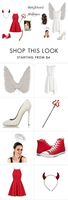"""""""Angel and Devil Costumes"""" by magical-flying-unicorn on Polyvore featuring Chicwish, Dsquared2, Converse and Chi Chi"""