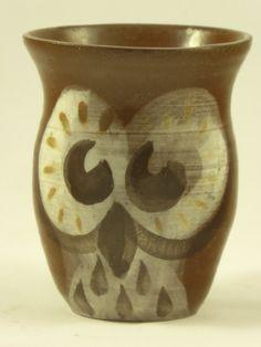 Small coffee or tea mug with owl motif cartoon by AlecPDavis on Etsy