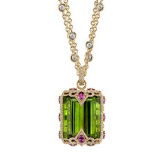 Amazon pendant in 18k yellow gold with 100.49 ct. peridot, 5.69 cts. t.w. purple garnet, and 2.33 cts. t.w. diamonds, price on request; Erica Courtney