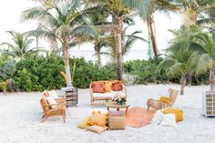 Pink and Orange Citrus Wedding at Hotel Esencia Picnic Style, Rustic Bench, Beach Ceremony, Tropical Style, Elopement Inspiration, Riviera Maya, Getting Married, Backdrops, Floral Design
