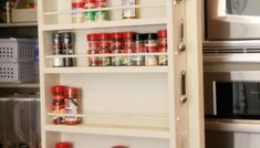 DIY Built-in Spice Rack - Free Plans and Tutorial - Shanty 2 Chic Spice Rack Diy Plans, Build A Spice Rack, Spice Rack Pantry, Door Spice Rack, Spice Racks, Can Storage, Pantry Storage, Storage Ideas, Kitchen Storage