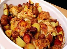 Roast Chicken with Potatoes and Chourico