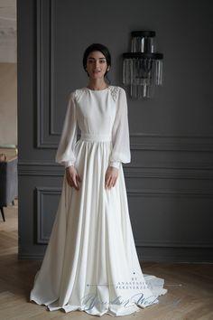 Long Sleeve Wedding, Modest Wedding Dresses, Simple Dresses, Lace Bridal Robe, Organza Bridal, Muslimah Wedding Dress, Minimalist Wedding Dresses, Chiffon Dress Long, Vestidos Vintage