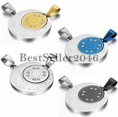 2 Freundschaftsketten Römische Ziffern Kompass Partner Paar Anhänger Halsketten