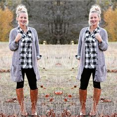 """""""Taupe Cardigan with our Black and White Plaid Top TO BUY: Comment with your email address, and you'll receive a secure checkout link. Checkered Shirt Outfit, Flannel Shirt Outfit, Black Plaid Shirt, Black And White Flannel, Flannel Outfits, White Plaid, Cute Outfits, Outfits 2014, Flannel Fashion"""