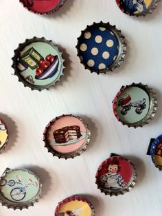 Vintage bottlecap magnets ....DIY with scrapbook paper or fabric, mod modge and magnets!