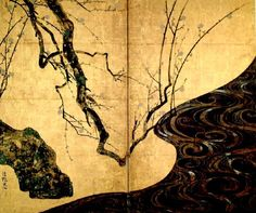 Ogata Korin, White Plum Blossoms, Edo period. 1710-16  -- I love the gold panels from the Edo period <3