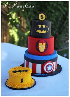 Super Hero Cake. Batman, Iron Man, and Captain America