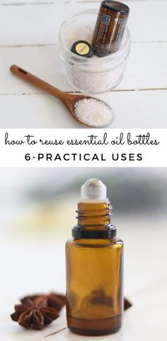 Do you save your empty essential oil bottles or throw them away?  I am going to show you 6 practical ways to reuse empty essential oil bottles.  Follow along for simple gift ideas, easy DIY projects, and ways to ensure you get every last drop of essential oil. #essentialoils #emptyoilbottles