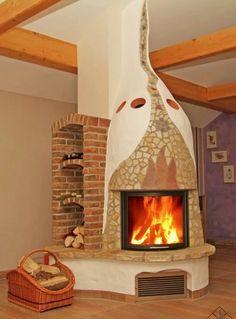 Фотография Modern Fireplace, Brick Fireplace, Fireplace Design, Cob Building, Building A House, Corner Wood Stove, Pinterest Home, Dome House, Solar House