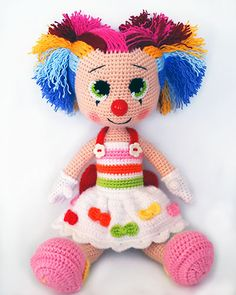 Amigurumi Bayan Palyaço Clowns, Frankenstein, Elsa, Dinosaur Stuffed Animal, Toys, Crochet, Animals, Activity Toys, Animales