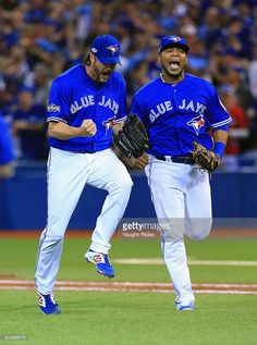 Jason Grilli of the Toronto Blue Jays and Edwin Encarnacion react after the third out in the eighth inning against the Baltimore Orioles during the American League Wild Card game at Rogers Centre on October 2016 in Toronto, Canada. American Baseball League, American League, Hockey, Basketball, Blue Jay Way, Baseball Tournament, Edwin, Mlb Players, Knee Injury