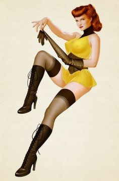 Sean should get this pinup picture of Sally Jupiter from Watchmen if he were to EVER get a pinup girl tattoo...
