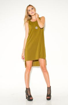 Sleeveless Tail Dress - Khaki