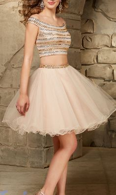 2 Piece Homecoming Dress,Short Homecoming Dresses,Tulle Homecoming Gown,Light Pearl Pink Homecoming Dress,Beautiful Prom Gown,2 piece Cocktail Dress