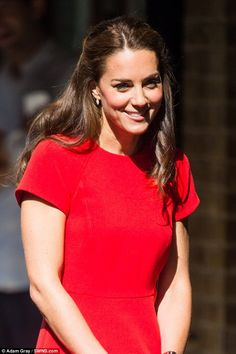 The Duchess of Cambridge wore her hair in a gentle half up-do for her day out in London