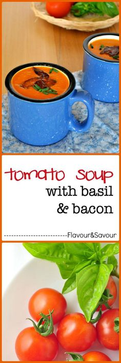 Make this quick creamy dairy-free tomato soup, topped with basil and bacon when you're short of time. Quick and easy! |www.flavourandsavour.com