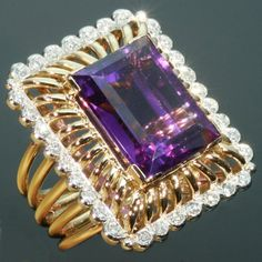 Large amethyst diamond ring  1950s vintage jewelry