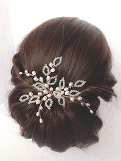 Rose gold hairpins set of 3 | Bridal rose gold hairpiece, Rose gold hair vine, Leaf hair vine, Bridal hair comb, Wedding rose gold headpiece