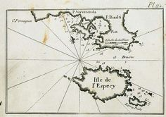 """""""Map of Spetses island and of the ports of Porto Heli and Ververonta in the Peloponnese.""""  Roux Joseph 1804"""