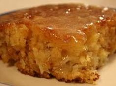 """Decadent Pineapple Cake with """"Sopping"""" Sauce made from coconut milk, sweetened condensed milk and rum or rum flavoring."""
