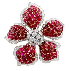 1stdibs - DAVID WEBB Flower Blossom Diamond  Ruby  Pin explore items from 1,700  global dealers at 1stdibs.com