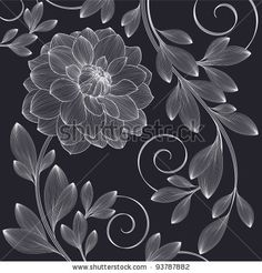 stock vector : Hand-drawing floral background with flower dahlia. Element for design. Vector illustration.