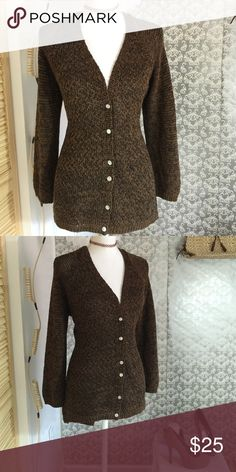 Brown knitted long sleeves jacket Lightly worn 25 inches in length sleeves 23 inches in length Isbel Jackets & Coats