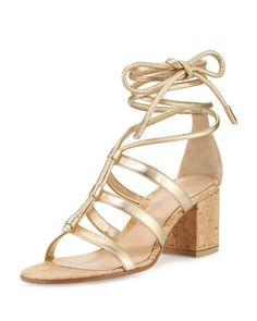 Cayman+Lace-Up+Metallic+60mm+Sandal,+Mekong+by+Gianvito+Rossi+at+Neiman+Marcus.