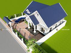 BIỆT THỰ 1 TẦNG MÃ SỐ BT1-052 - Công ty cổ phần tư vấn kiến trúc xây dựng Nhà Phương Đông 1 Story House, Roof Design, Design Homes, Bungalow House Design, Small House Plans, Kenya, Architecture Design, How To Plan, Arquitetura