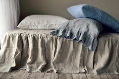 Stonewashed Natural Linen Ruffled Bedskirt. Dust ruffle. Queen and King sizes. Natural flax colour