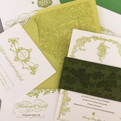 Happy St. Patrick's Day! Our Oxford suite is the perfect (and very green) design of the day #stpattys #saintpatricksday #custominvitation #weddinginvitation #englishwedding #englishgarden #green #letterpress #design #graphicdesign #stpatricks
