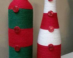 Artículos similares a Hot Pink Wrapped Wine Bottle en Etsy Bottle Art, Bottle Crafts, Yarn Wrapped Bottles, Masons, Yarn Projects, Wine Bottles, Hot Pink, Mason Jars, Decoration