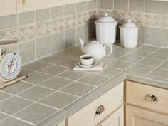 Kitchen Tile Countertops With Matching Full Backsplash Note Details In