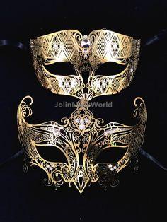 $36.98 Royal Men Woman Couple Gold Metal Venetian Masquerade Ball Laser Cut Mask Masks