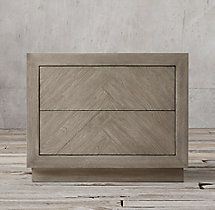herringbone narrow nightstand