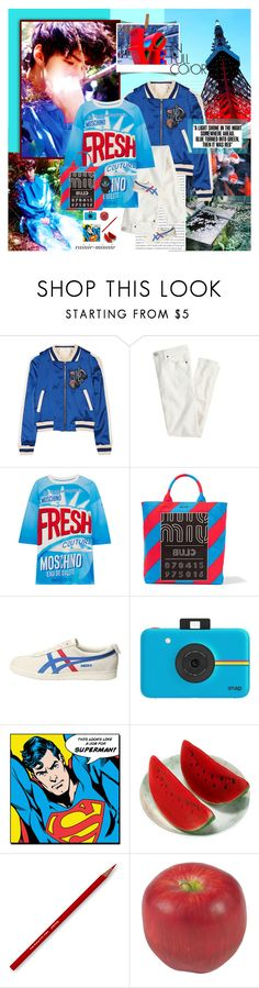 """""""In Full Color"""" by rainie-minnie ❤ liked on Polyvore featuring Oris, Maje, J.Crew, Moschino, Miu Miu, Onitsuka Tiger, Polaroid, Nearly Natural and adidas"""