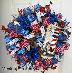 Spring Summer Lake Beach Nautical Sailing Lighthouse Welcome Anchor Ocean Blue and Burlap Mesh Indoor Outdoor Wall Door Home Decor Wreath! by NicoleDCreations on Etsy https://www.etsy.com/listing/233080458/spring-summer-lake-beach-nautical