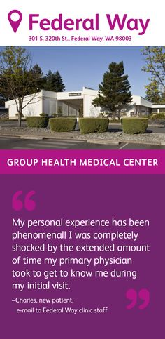 Federal Way Medical Center Group Health, Federal Way, Optical Shop, Primary Care, Radiology, Get To Know Me, Medical Center, Pediatrics, Pharmacy