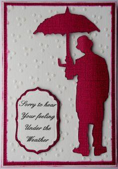Quick get well card using Tim Holtz umbrella man die  Charles Chaplin